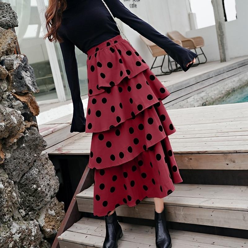 2019 Spring New Polka Dot Skirt Women Vintage High Waist Long Layer Fold Ruffles Skirts Female Midi Skirts Autumn Cake Saias