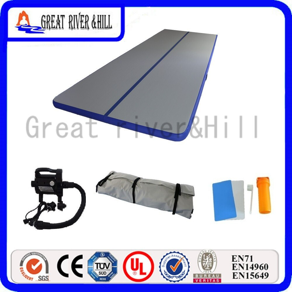 Alfombrilla de gimnasia inflable de pista de aire plegable azul 6m x 1,8 m x 15cm