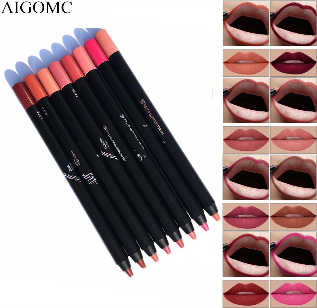AIGOMC 8 Colors/Set waterproof lip liner pencil sexy full lipstick female long-lasting lipstick cosmetics beauty makeup