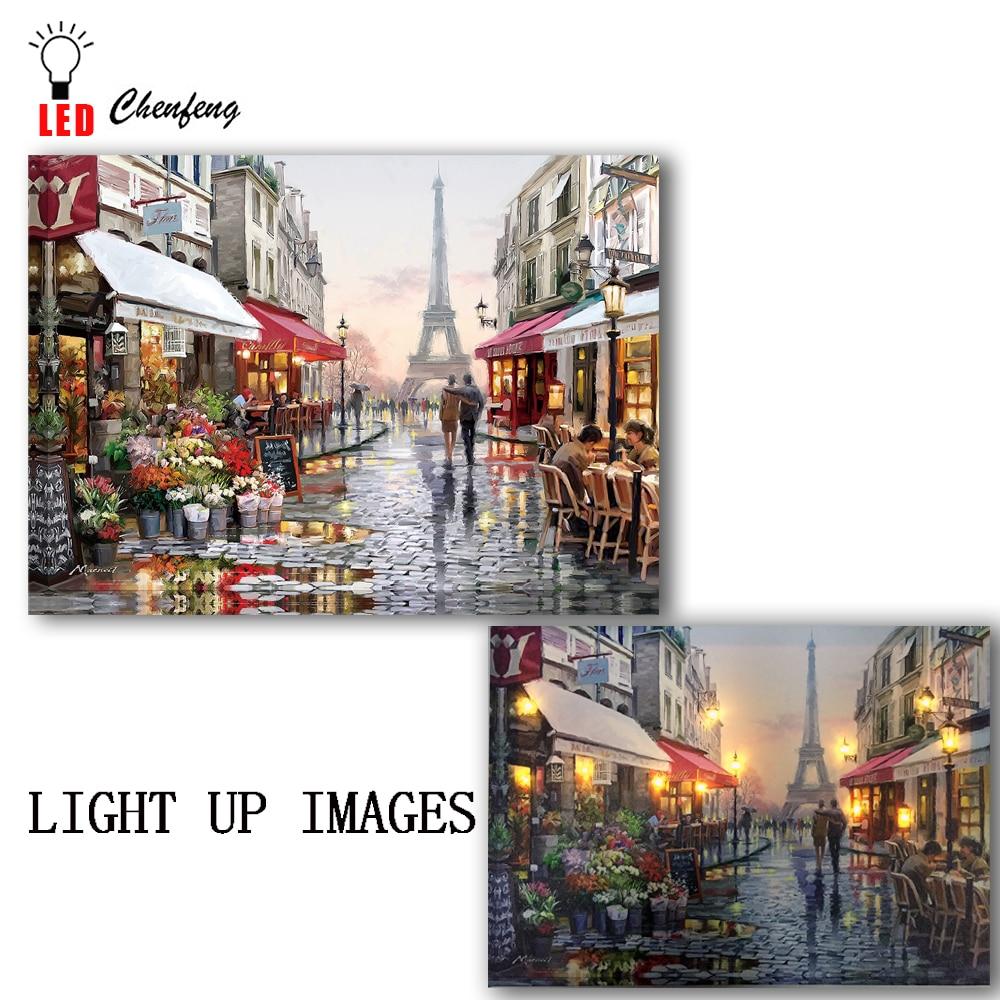 Lienzo iluminado estampado calle romántica París Eiffe Torre Hermosa vista de Francia Led pintura Navidad lienzo arte de pared