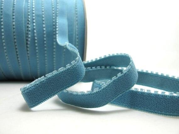 CLEARANCE 8 Yards 3/8 Inch Blue Picot Edge Decorative Pattern Lingerie Elastic Headband Elastic Skinny Narrow Stretch Lace