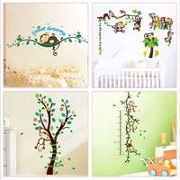Autocollant Mural singe avec arbre  joli dessin anime  pour chambre denfants  maternelle  decoration de la maison  Art Mural Animal de la foret  Diy bricolage