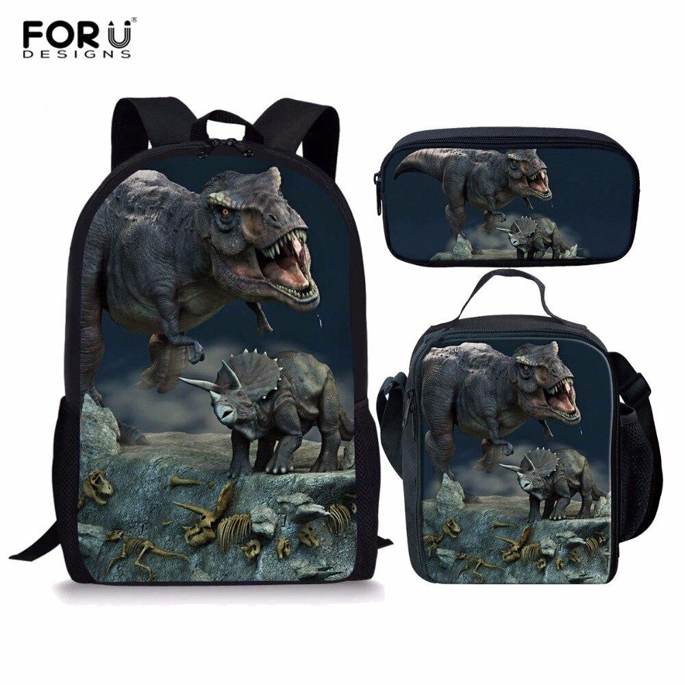 FORUDESIGNS 3pcs/set Dinosaur World Backpack Dragon Casual School Bags Sets Boys Girls Teenager Mochila Bolsa