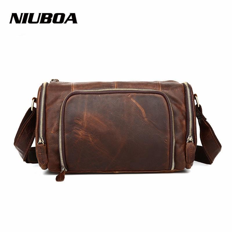 NIUBOA New Casual Leather Shoulder Bags Genuine Leather Men Chest Bag High Quality Retro Crazy Horse Small Messenger Bag For Man