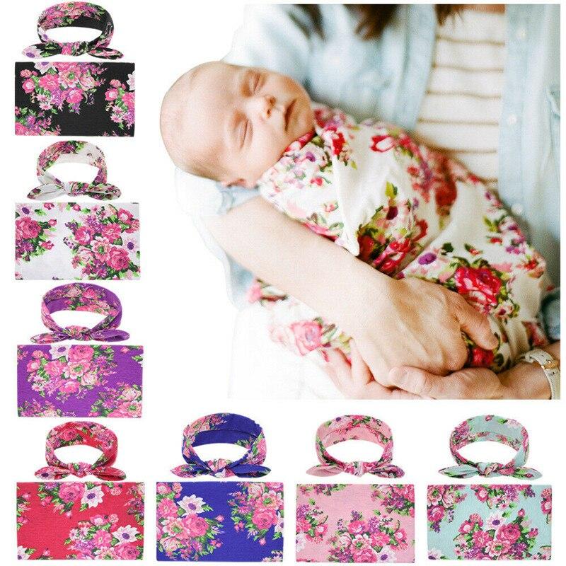 PUDCOCO, lo más nuevo, suave, 2 uds., bebé recién nacido, niñas, niños, manta envolvente Floral, manta + diadema, conjunto de ropa, saco de dormir