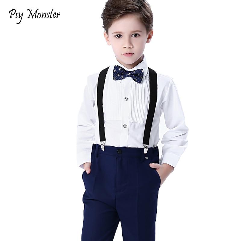 Wedding Suit For Boys Kids Formal Prince School Student Dress Gentleman Kids Strap Shirt Pants Bowtie 4Pcs Performance Costumes