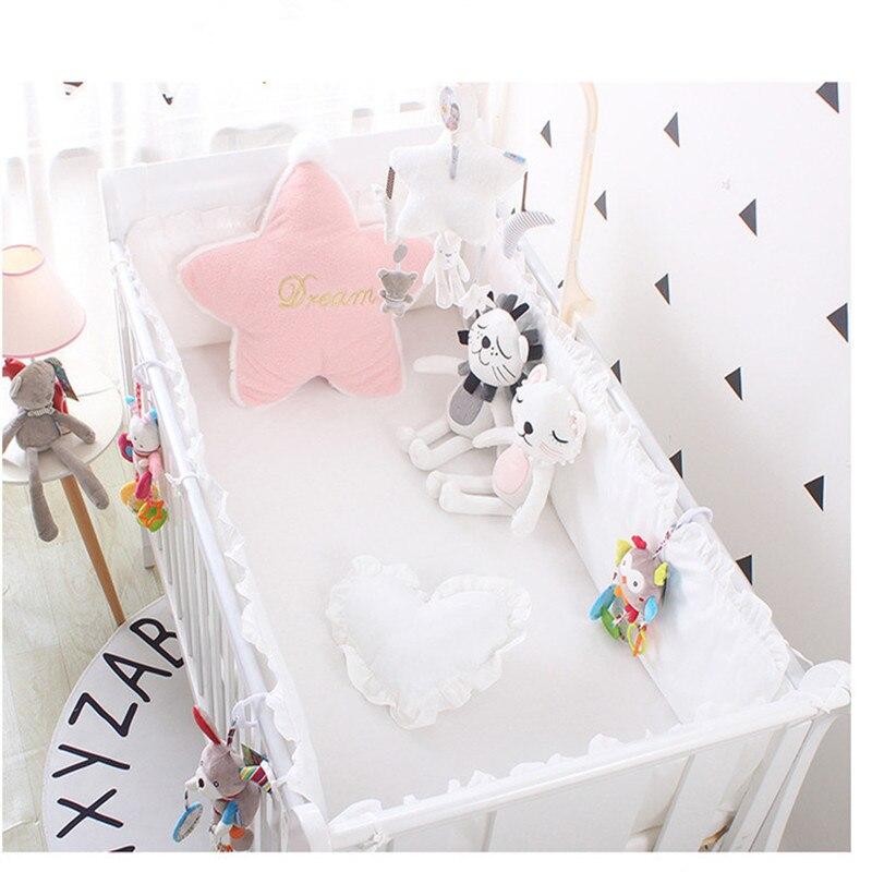 5 uds. Almohadilla de parachoques de cuna transpirable para bebés, juego de forro de cama Ovalada para bebés, protectores de seguros para niñas parachoques, almohadilla de riel de cuna gris/blanco