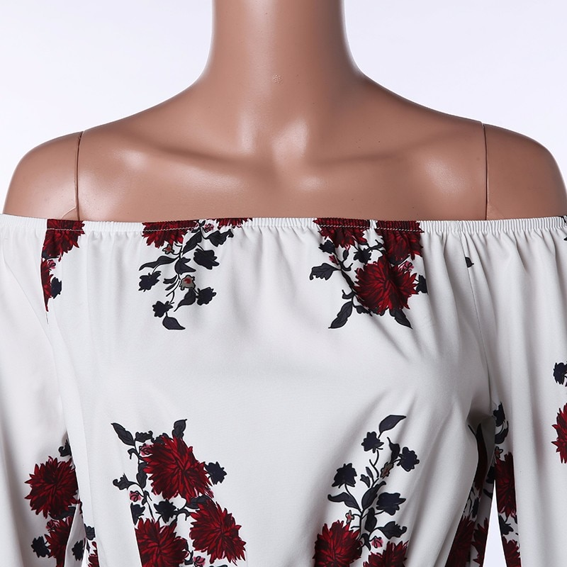 Print Slash Neck Off Shoulder Bohemian Split Beach Maxi Dress 7