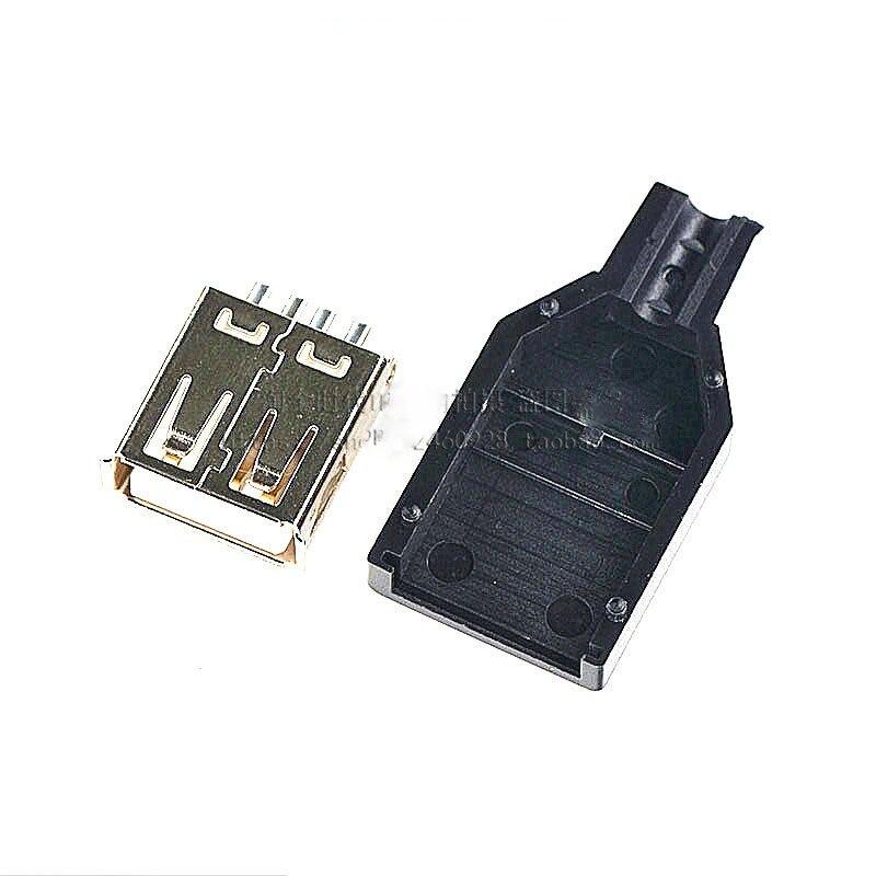خرطوشة بطاقة مقبس USB 100 قطعة ثلاثة موصل أنثى USB نوع سلك لحام مع غطاء بلاستيكي