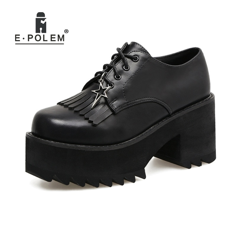 Street Rock Punk Short Shoes Boots Round Toe Thick Platform Shoes Women Japanese Harajuku Wedges Lace Up Tassel Shoes With Star