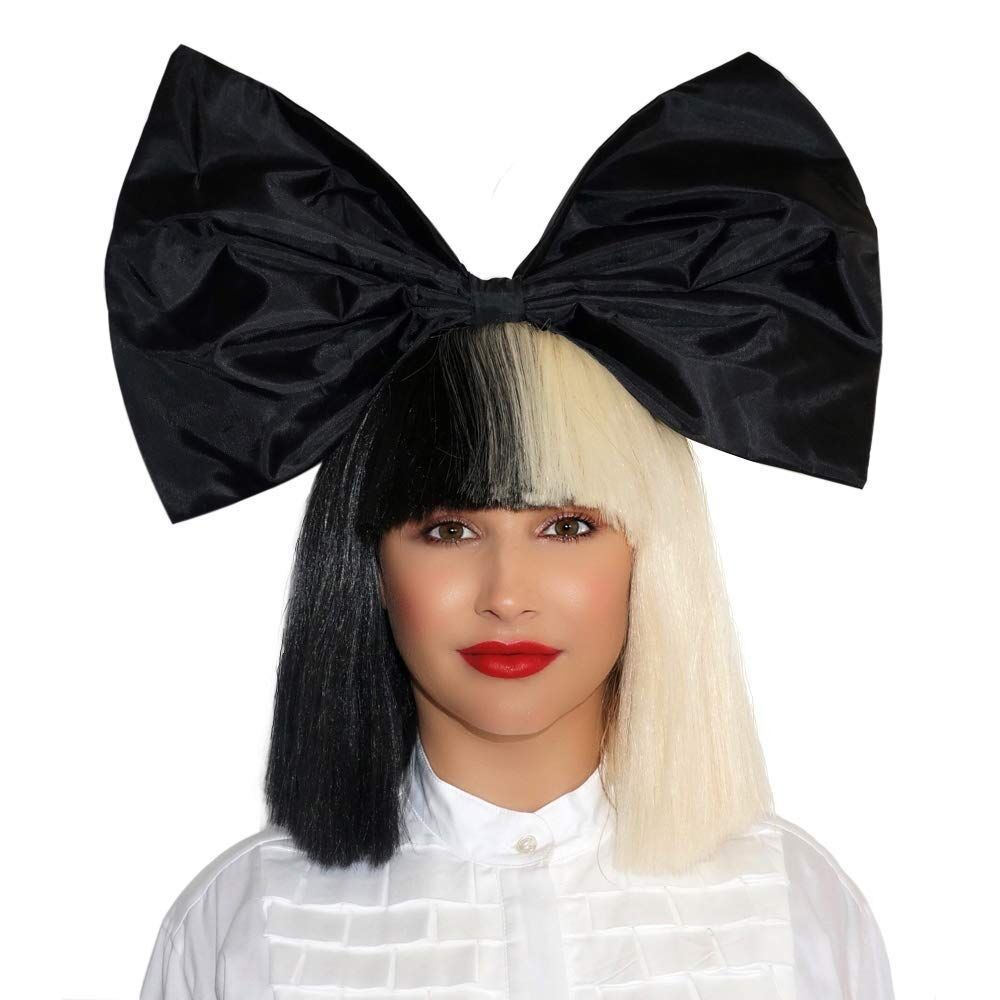 Sia Wig Half Black Half Blonde Short Straight Flat Bangs Heat Resistant Synthetic Hair Cosplay Wigs + Wig Cap + Big Bowknowts