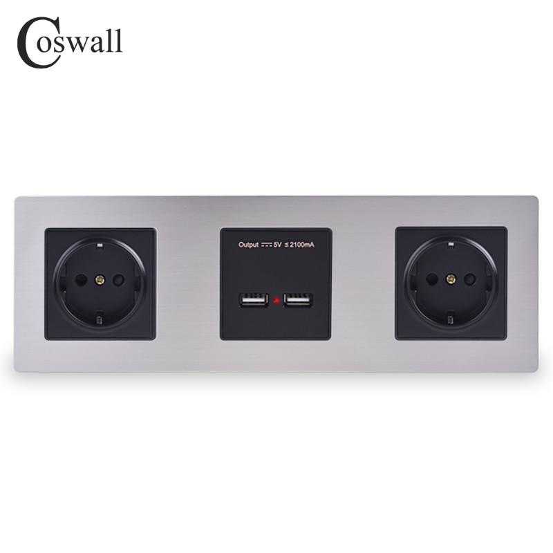 COSWALL-مقبس حائط مزدوج من الفولاذ المقاوم للصدأ ، منفذ شحن USB ذكي ، خرج 5 فولت 2 أمبير ، لون أسود