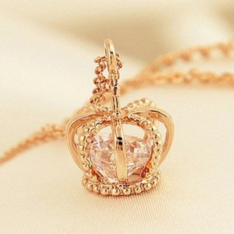 Женское ожерелье с подвеской в виде короны, розовое золото, 2018