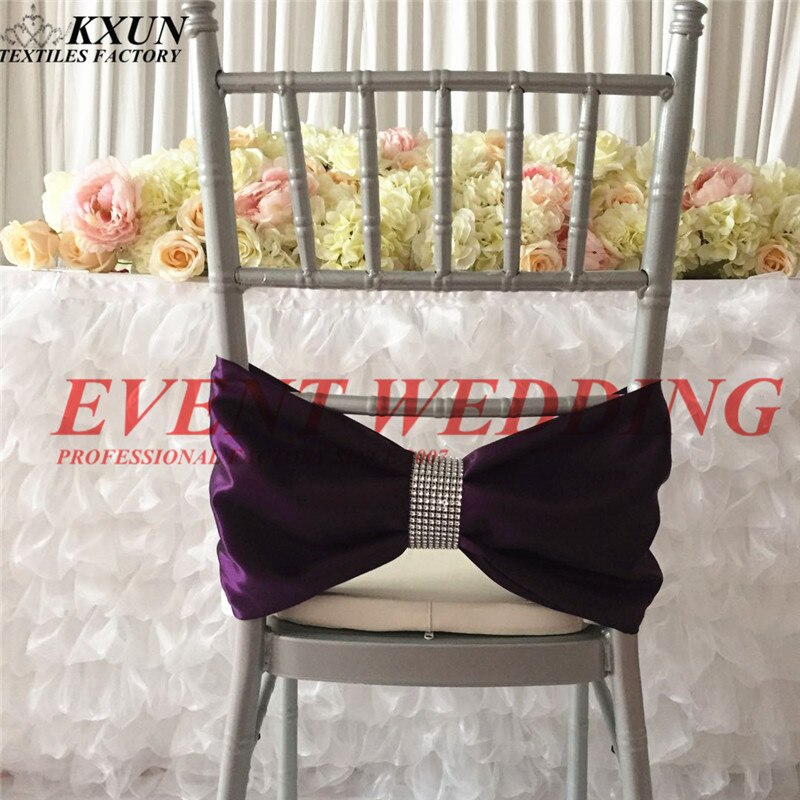 Correa de silla de satén Chiavari con hebilla para decoración de eventos de boda