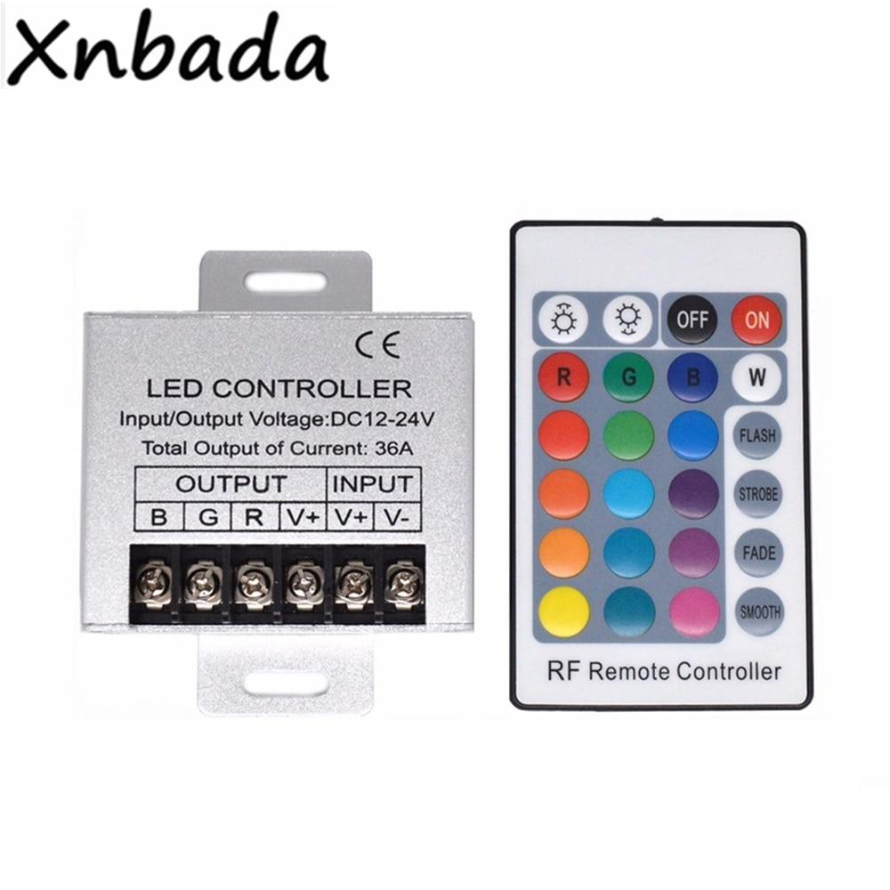 36A RF Remote RGB Led Controller With 24keys Remote Controller For 3528 5050 RGB LED Strip Lights DC12-24V