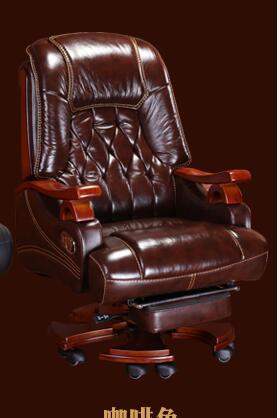 computer chair can lie lifting boss chair leather swivel chair Leather boss chair massage can lie in the office chair family computer chair swivel chair cow leather big class chair.