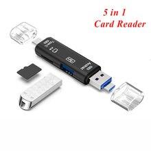 Type C et Micro USB 5 en 1 lecteur de carte OTG lecteur Flash haute vitesse USB2.0 universel OTG TF/SD carte pour ordinateur de téléphone Android