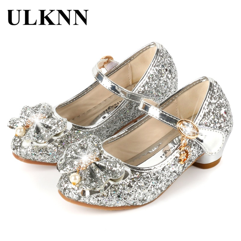 ULKNN Princess Kids Leather Shoes For Girls Flower Casual Glitter Children High Heel Girls Shoes But