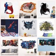 Super Hero Theme Wall Stickers For Kids Room Home Decoration Diy Superman Batman Hulk Spiderman 3d Hole Pvc Mural Art Boys Decal