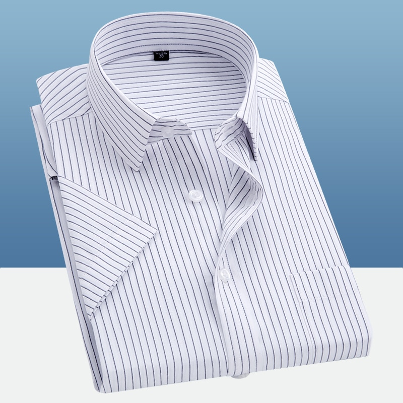 Camisa de manga curta listrado masculina casual chemise homme verão nova moda gola quadrada camisa profissional