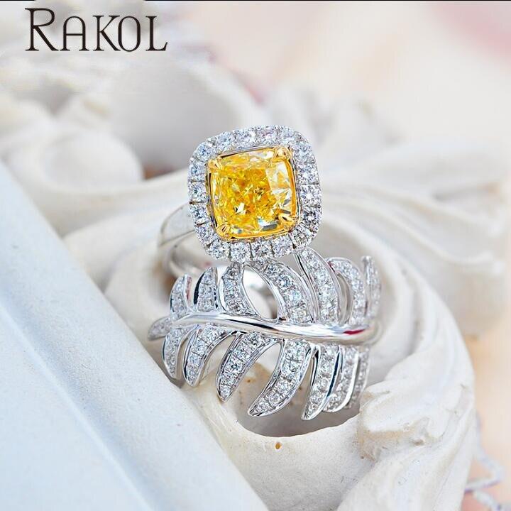 Anillo de circonio cúbico cuadrado de moda para mujer de RAKOL, joyería para vestido de boda de aniversario RR72032