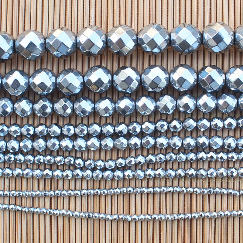Facted 2-12mm Natural Hematite Electroplate Silver Round Loose Beads 15inch Wholesale For DIY Jewell