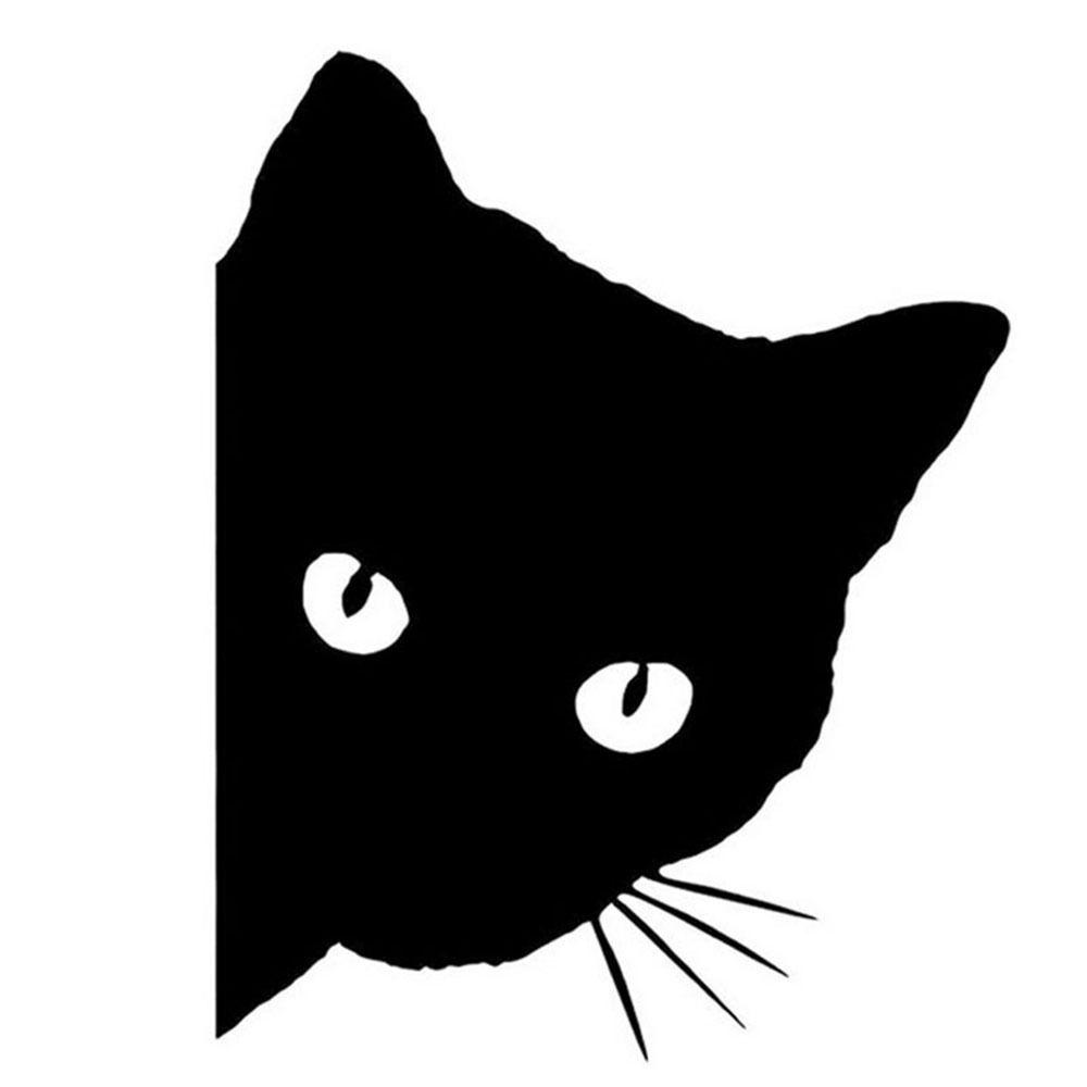 Adhesivos graciosos para la ventana del coche con cara de gato, parachoques automático para camión Etiqueta de pared para portátil, pegatinas decorativas con estilo para coche, 1 unidad