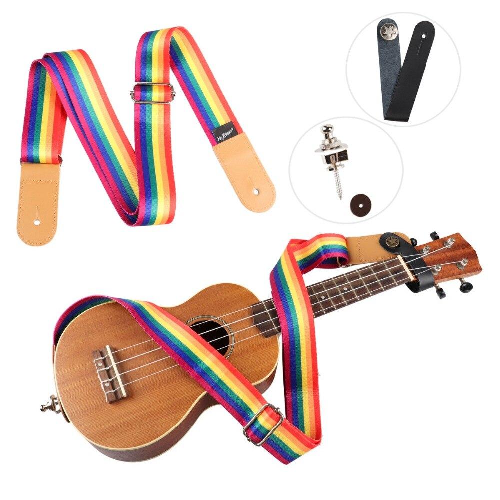Universal Ukulele Strap Soft Nylon Durable Adjustable Rainbow Guitar Strap with 2pcs/Set Strap Lock for Ukulele Bass Acoustic strap hawaii guitarra ukulele rainbow strap adjustable multicolor ukulele strap soft nylon belt for hawaiian guitar ukulele