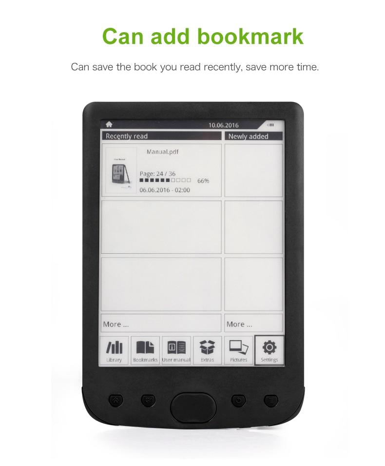 8GB E-BOOK Reader E-Ink 6 inch e books E-reader 800x600 Resolution Display 300DPI with e-reader cover enlarge