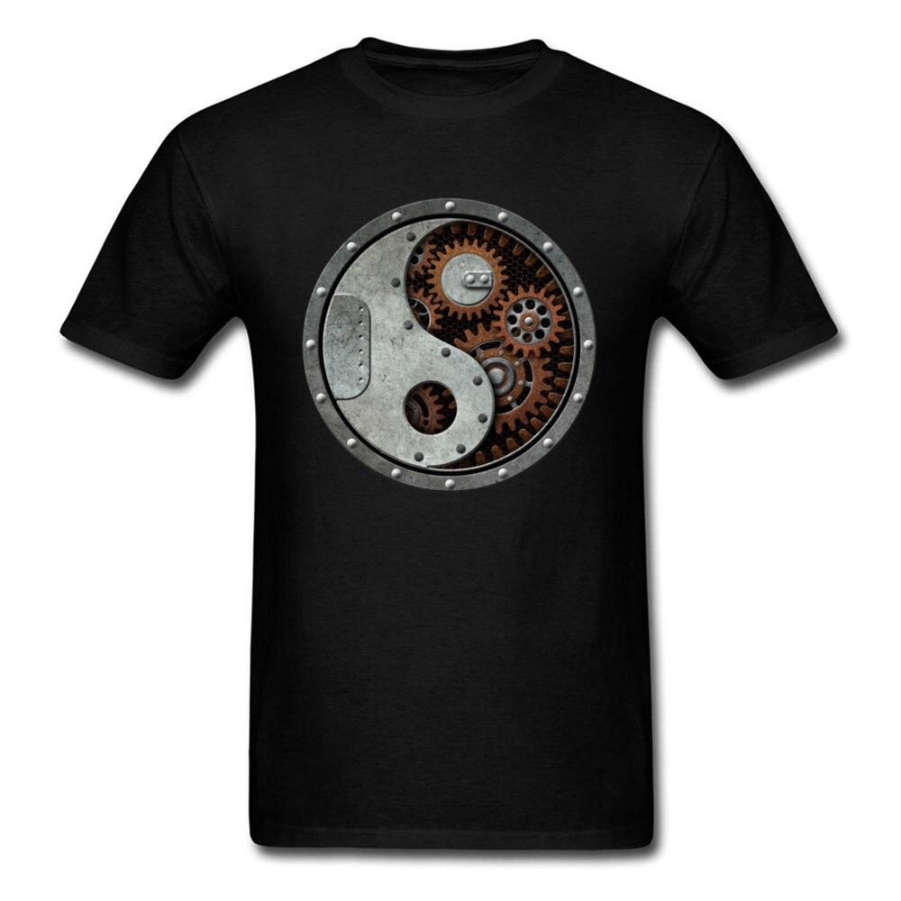 Промышленная футболка в стиле стимпанк Yin Yang, Мужская черная футболка, топы в стиле панк, хлопковые футболки с 3D передачей, одежда с принтом, футболки в стиле хип хоп Футболки    АлиЭкспресс