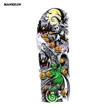 1 pièce Halloween temporaire tatouage autocollant citrouille fantôme crâne pleine fleur tatouage avec bras corps Art grand grand faux tatouage