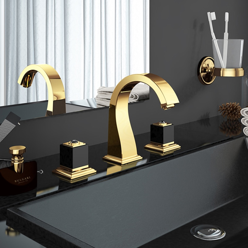 حنفيات حوض الحمام مع خلاط مياه ساخن وبارد ، حنفيات مغسلة فاخرة بمقبض مزدوج ، نحاس ذهبي ، 3 ثقوب