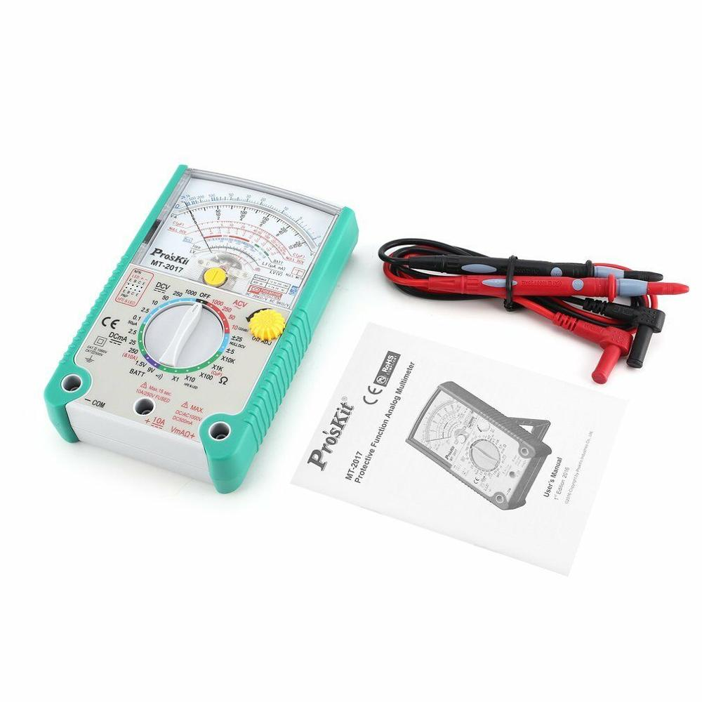 Multímetro analógico de MT-2017 en caliente, multímetro de seguridad estándar profesional a prueba de ohmios, multímetro analógico de resistencia a la corriente de voltaje DC AC