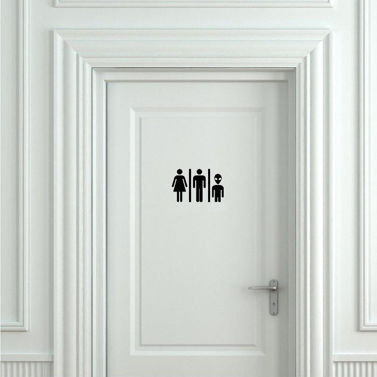 Pegatina de puerta de baño lavatorio extraterrestre para hombre y mujer con decoración de criaturas extraterrestres pegatinas para inodoro pegatinas de vinilo para cuarto de baño Mural S746