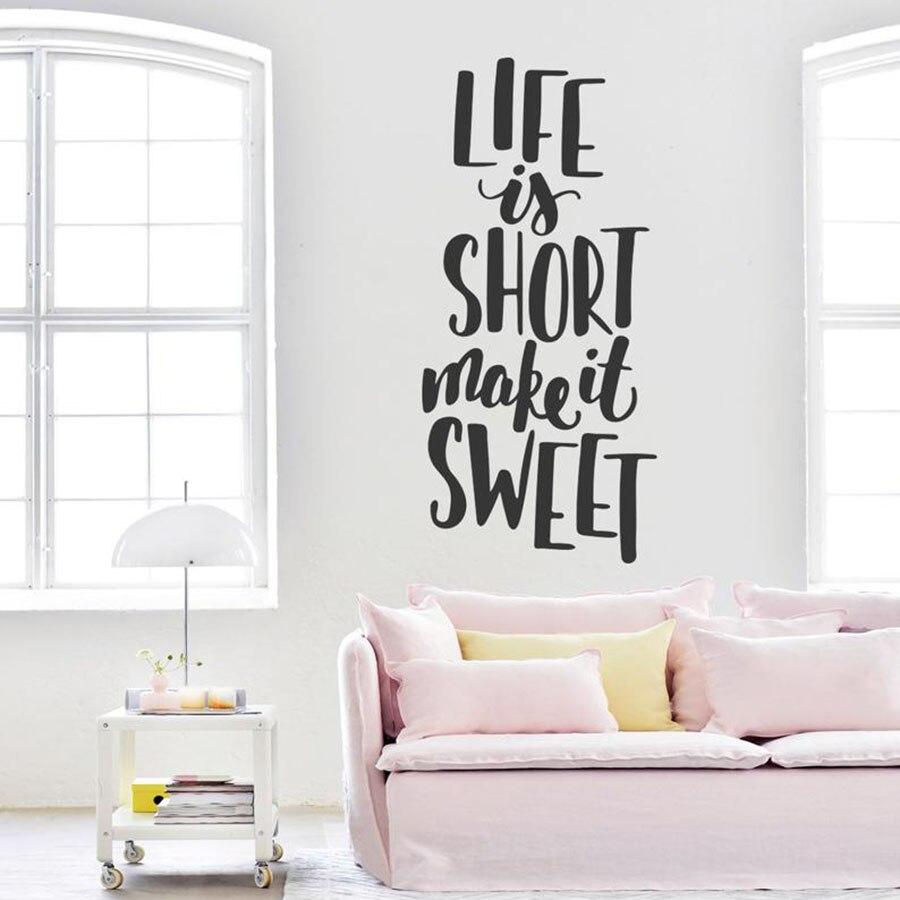 Etiqueta de la pared de la cita de la cocina pegatina de la pared del vinilo del arte de la decoración del Interior de la habitación impermeable de la familia la vida es corta hazlo dulce S449