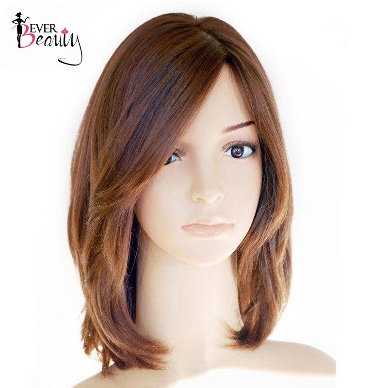 Jewish Kosher Wig Silk Base European Virgin Hair Straight Short Bob Human Hair Wigs Side Bangs Wig Ever Beauty