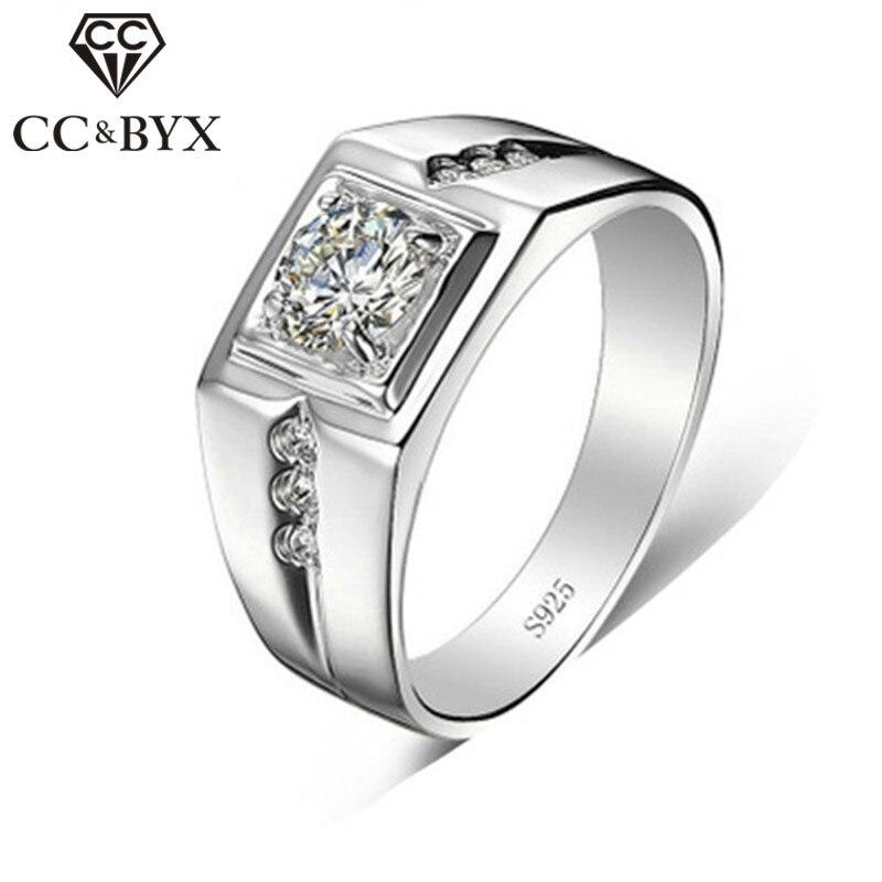 CC Schmuck 925 Silber Ringe Für Männer Mode Luxus Einstellbare Weiß Gold-Farbe Hochzeit Engagement Liebhaber Ring Männlichen Bijoux CC635