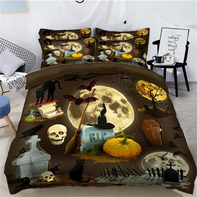 Juego de cama de lujo 3D esqueleto de Halloween, juego de cama digital extragrande Queen twin California king, ropa de cama, funda de edredón, Sábana
