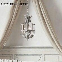 Français princesse chambre fleur lustre style américain fer art vintage lanterne chambre entrée couloir étude lampe
