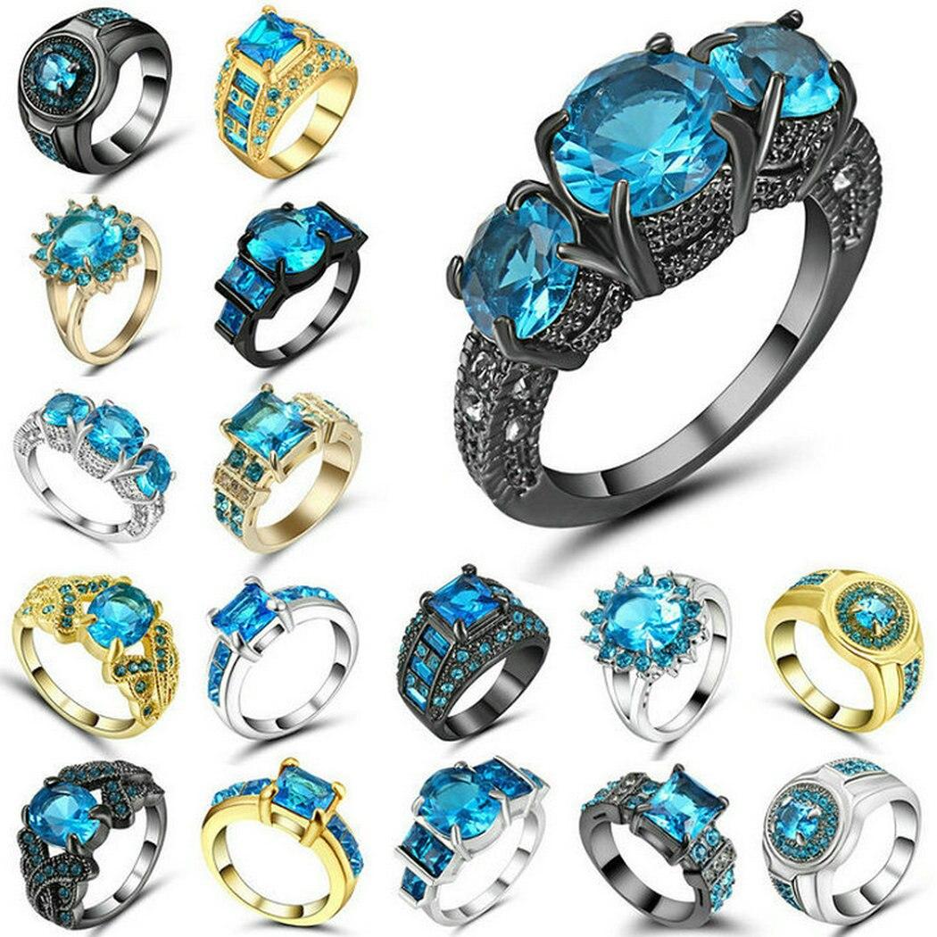 Женское кольцо с цирконием, золотое, серебряное, черное, небесно-синее, Размер 9