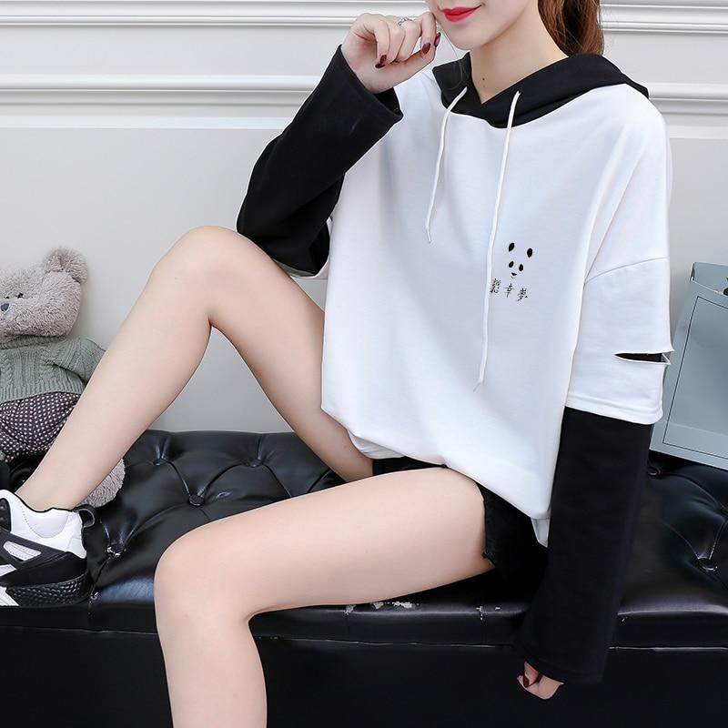 Otoño de manga larga estampado de panda camisa de las mujeres Casual Harajuku Kawaii Tops Raglan hechizo Color empalme Camiseta de algodón ropa coreana