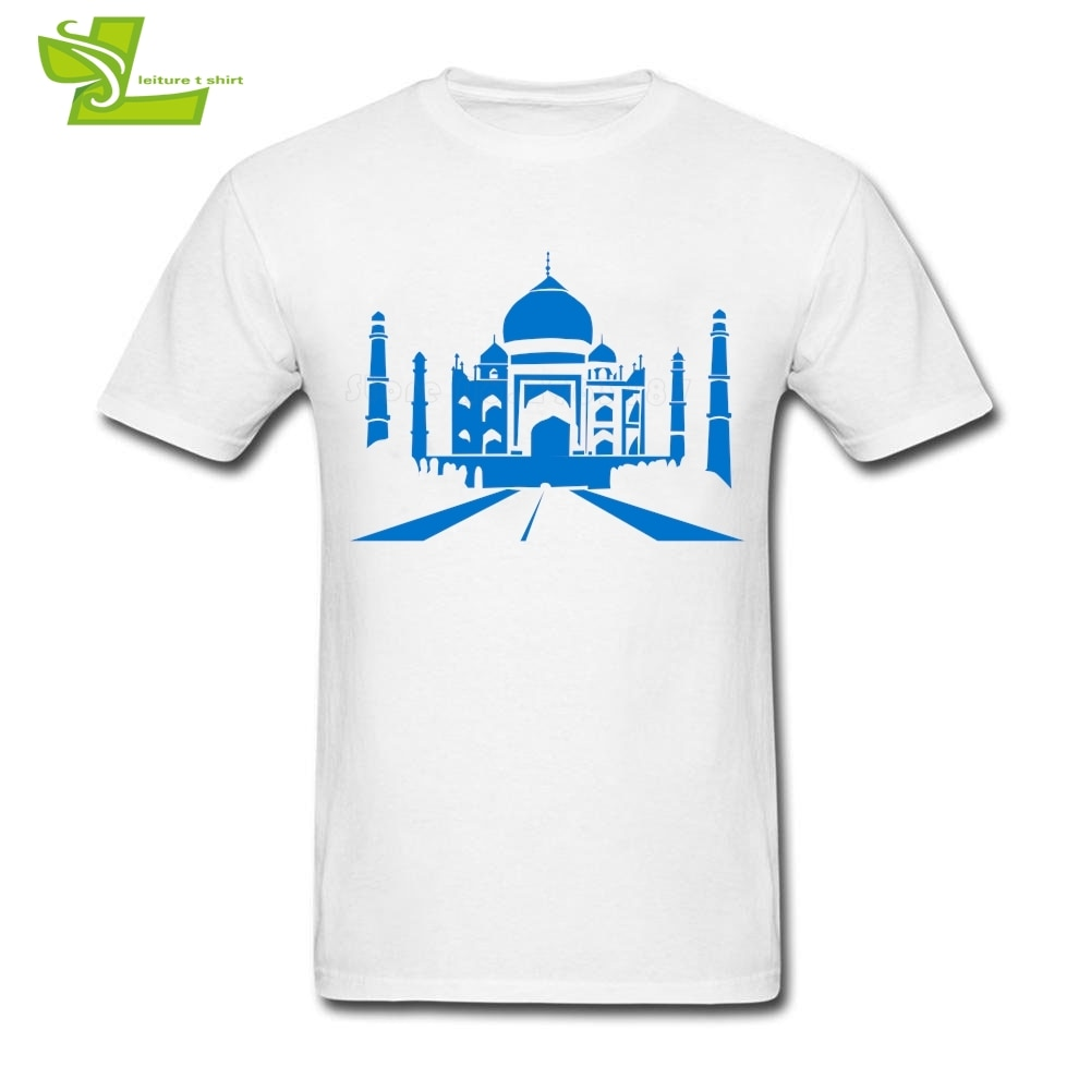 World Landmarks Adult T Shirt Cool Custom Made Comfortable Tops Men's Summer Round Neck Tee Dad Tee Shirt Taj Mahal