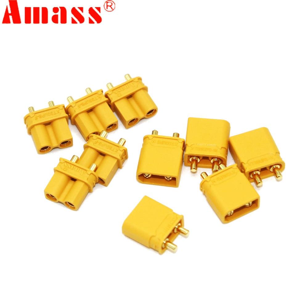Штепсельная Вилка Amass XT30UPB XT30 UPB 2 мм, штепсельные гнездовые пулевые коннекторы для батарей RC lipo, 10 шт. (5 пар)