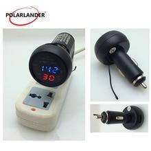 Voltmètre 3 en 1 double affichage   Allume-cigare de voiture, chargeur de téléphone, température, batterie, tension mètre