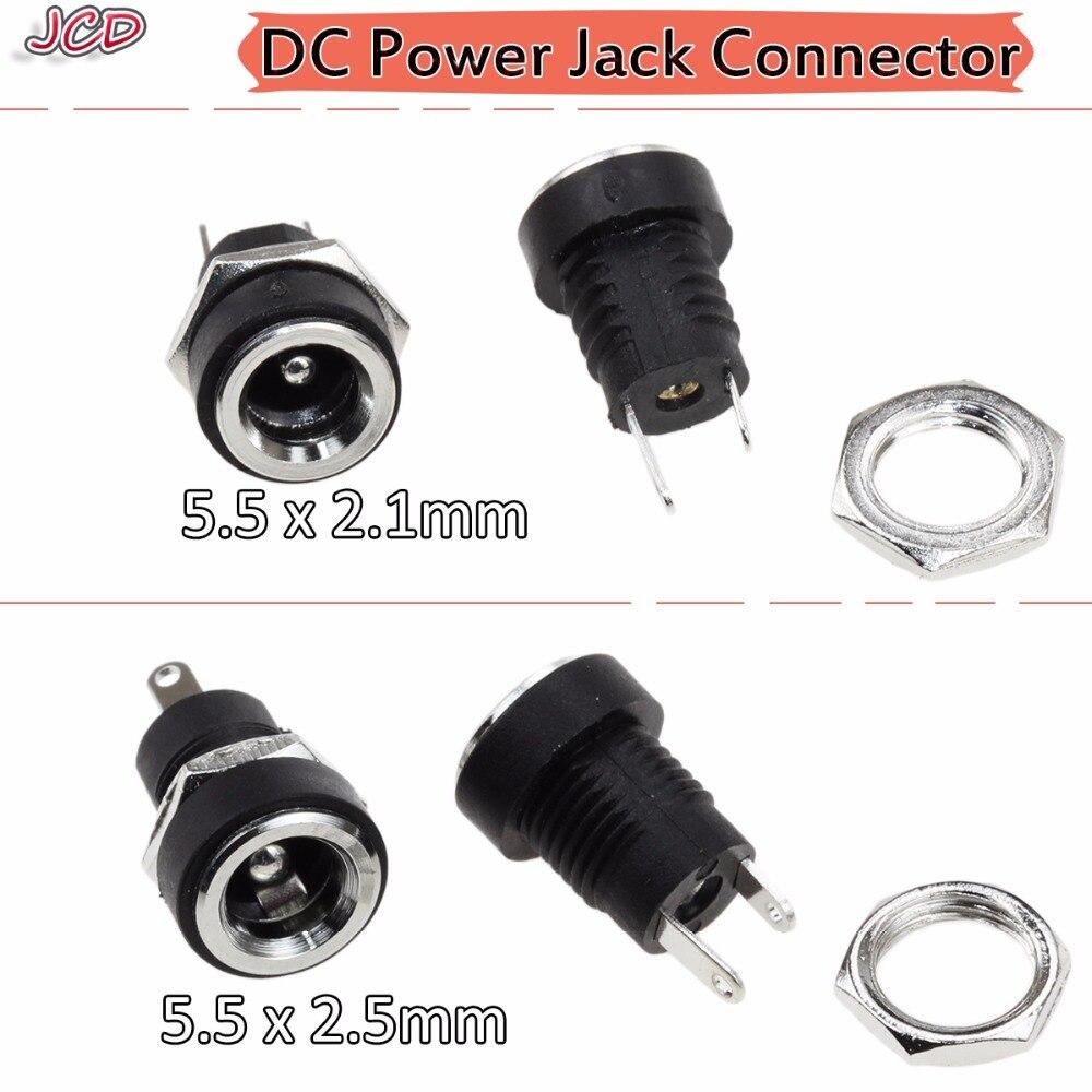 JCD 3A 12v para toma de corriente DC, Conector de montura de Panel hembra de 5,5mm x 2,1mm/5,5mm x 2,5mm, adaptador de enchufe de 5,5x2,1 5,5x2,5mm