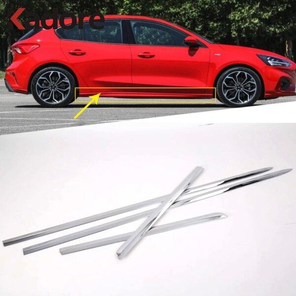 Dla Ford Focus 2019 2020 Sedan ABS Chrome boczne drzwi kształt nadwozia linia pokrywa tapicerka Protector dekoracja akcesoria zewnętrzne