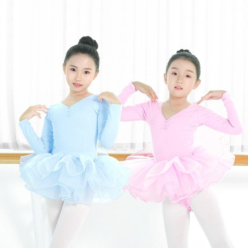 Nowe maluchy z długim rękawem baletowa spódniczka Tutu sukienka dla dzieci dziewczyny baleriny sukienka spódnica trykot dzieci gimnastyka kostiumy do tańca