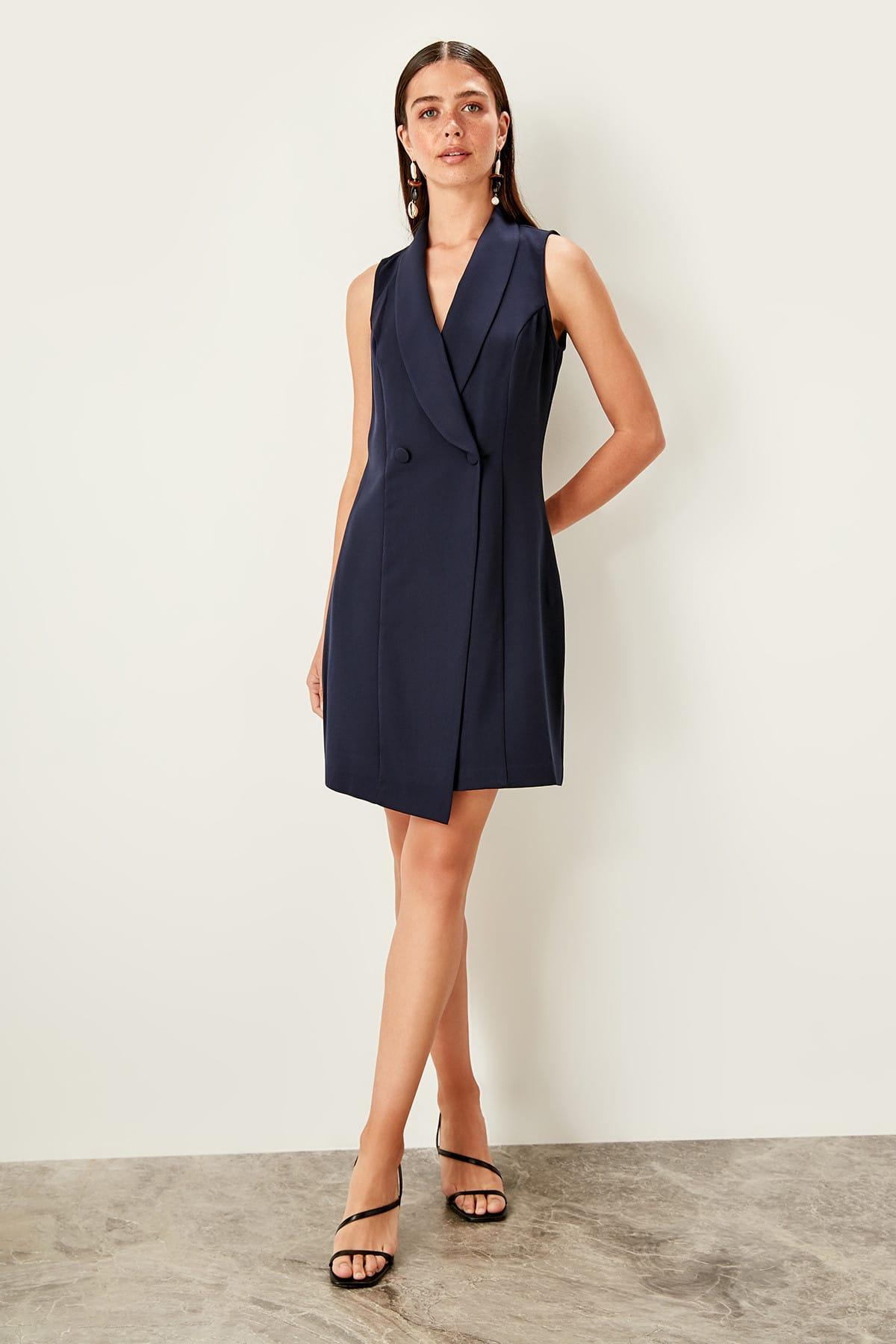 Vestido azul marino Trendyol TWOSS19EL0077