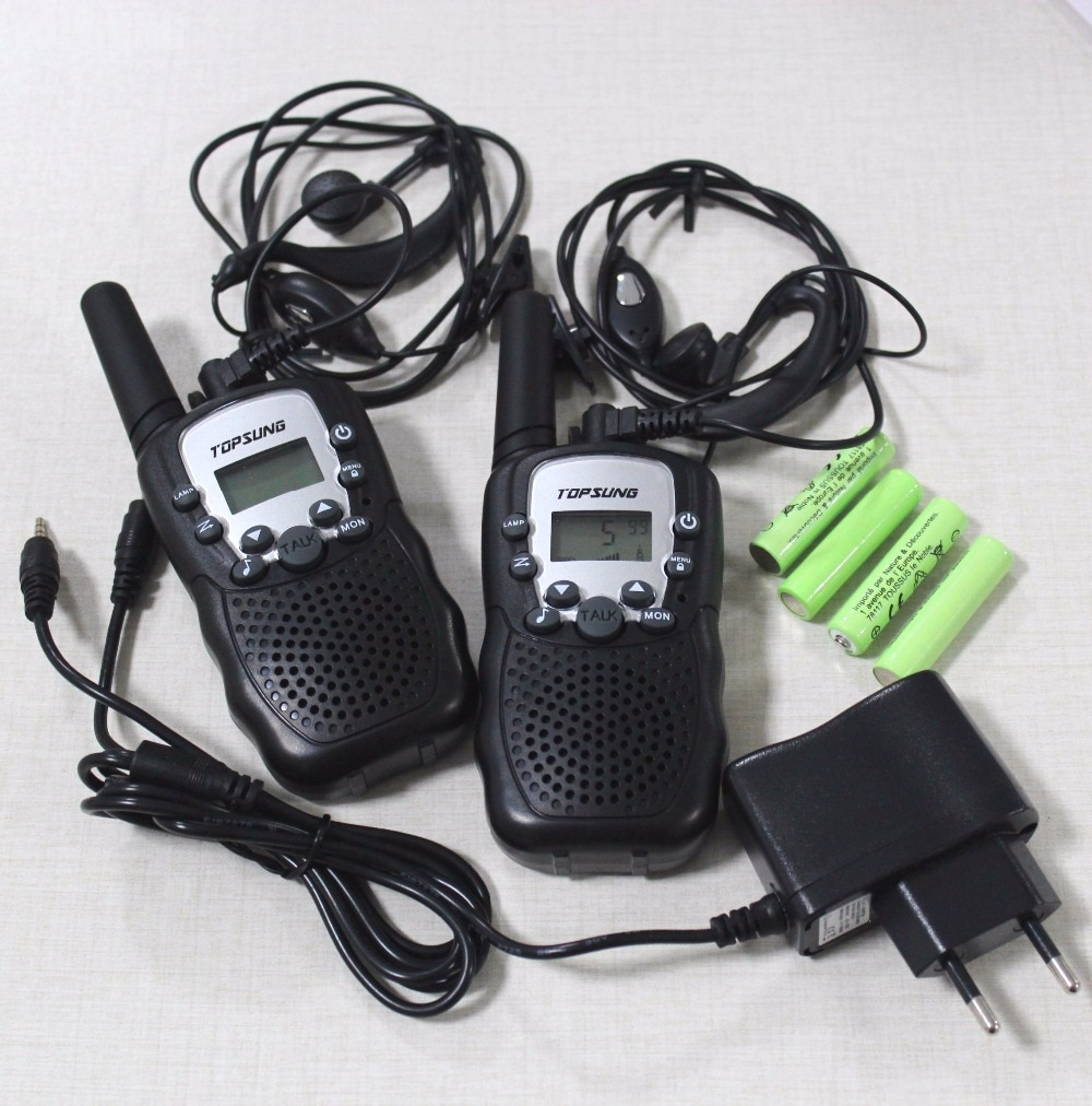 Kids walkie talkie pair T388 PMR/FRS radios VOX talkie radios led flashlight 99 private code w/ batteries charger vox earphones