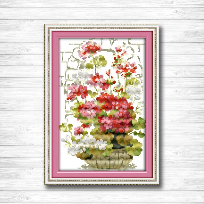 La cesta de flores de geranio Rosa diy pintura 14CT 11CT Kit de costura de punto de cruz Kit de bordado chino punto de cruz